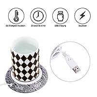 USBカップウォーマー、木目カップウォーマー熱飲料マグマットオフィスティーコーヒーヒーターパッドコーヒーマグウォーマー(3#)