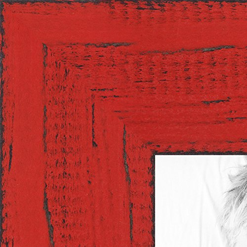 ArtToFrames 8x10 inch Weathered Barnwood in Saturated Red Wood Picture Frame, WOMSM-ECO150-RED-8x10