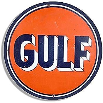 Amazon Com American Stickers Usa Inc Vintage Round Gulf Gas Logo Sticker Motor Oil Car Gasoline Decal Sticker Graphic Decal Automotive