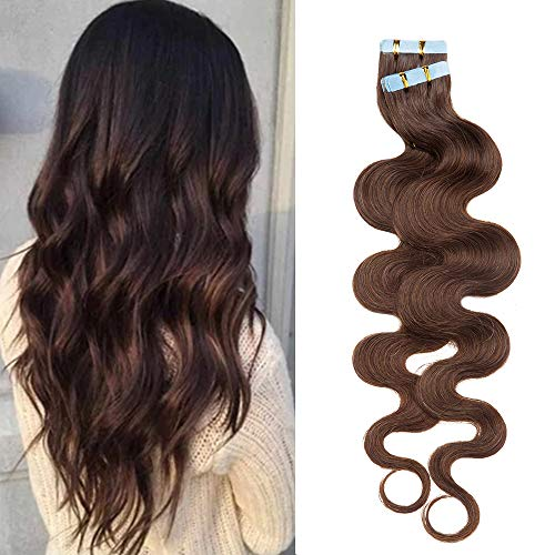 Extension Capelli Veri Adesive Mossi Tape in Hair Extension Biadesivo Remy Human Hair 50g/set 20 Fasce, 40cm #4 Marrone Cioccolato