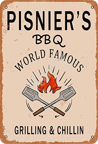 Keely Pisnier'S BBQ World Famous Grilling & Chillin Decorazione da Parete in Metallo Vintage con targhetta in Metallo 12x8 Pollici per Bar, ristoranti, Pub, Uomo, Grotta Decorativa