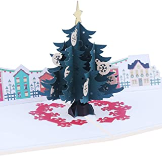 Forniture per le vacanze Tarjeta De Talla De Papel Hecha A Mano Tarjeta Navideña Estéreo 3D Árbol De Navidad Hueco