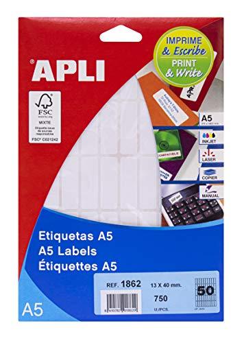 APLI 1862 - Etiquetas A5 blancas 13,0 x 40,0 mm 15 hojas