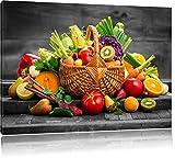 Pixxprint Frisches Obst und Gemüse im Korb als Leinwandbild   Größe: 80x60 cm   Wandbild   Kunstdruck   fertig bespannt