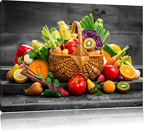 Pixxprint Frutta Fresca e Verdura nel Cestino Stampa su Tela 80x60 cm Artistica murale