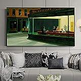 Pintura famosa Edward Hopper Nighthawks Pintura en lienzo Carteles e impresiones Arte de pared para sala de estar Decoración moderna para el hogar 50x90cm (20x35in) Sin marco