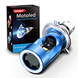 LED Motorcycle Headlights Camelight H4/HS1 Hi/Lo Blu-ray Angel Eye DC 12V/24V Universal Replacement