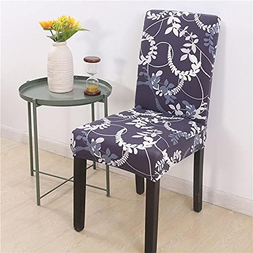 JRLTYU Fundas de sillas Patrón de Hoja Blanca Azul Fundas de Sillas Comedor Elásticas Spandex para Boda,Hogar,Restaurante,Hotel Fundas Protectoras para Sillas Juego de 6 Piezas