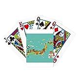 Juego de mesa divertido de cartas mágicas con mapa de cultura japonesa tradicional
