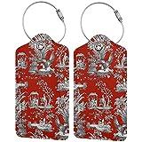 Juego de etiquetas para maleta de piel de microfibra, color rojo, de pavo