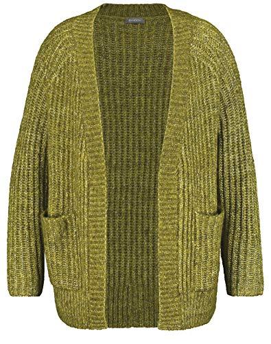 Samoon Damen 332015-25261 Strickjacke, Grün (Lime Green Melange 5081), Large (Herstellergröße: L)