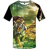 WBYFDC 3D Estampado Animal Tigre León Cara Camiseta Suelta Casual Verano Harajuku Camiseta De Gran Tamaño Hombres Mujeres Cuello Redondo Manga Corta