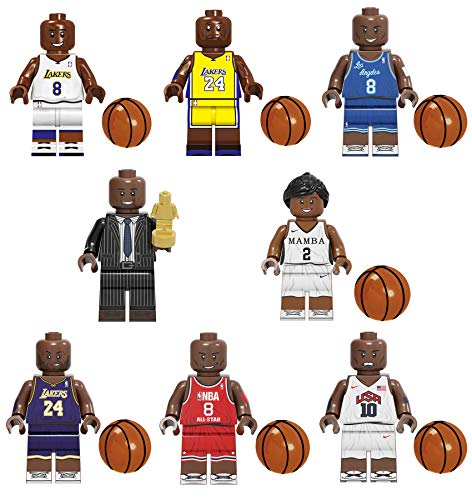\t Basketball Fan Action Figure Lakers NO. 24 Kobe Bryant and Gianna Basketball Player Model NBA Series Collectible Figures Building Blocks Toys Memorabilia Gifts for Kids Adults Fans 8PCS-4.5CM