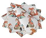 S4Sassy Blanco Zorro Africano ninos Servilleta Impresa Uso Diario básico Juego de Mesa de Lino de Mesa 18 x 18(Paquete de 6)
