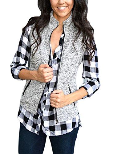 HOTAPEI Womens Vest Slim Winter Fall Zip Up Lightweight Down Vest Fleeece Outdoor Puffer Quilted Vest Jacket Gray-1011 Small