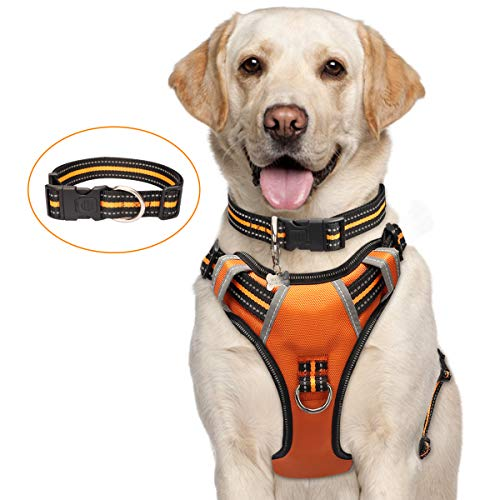 WINSEE Dog Harness No Pull, Pet Harnesses with Dog Collar, Adjustable Reflective Oxford Outdoor Vest, Front/Back Leash Clips for Small, Medium, Large, Extra Large Dogs, Easy Control Handle for Walking
