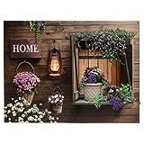dekoratives LED Bild mit Timerfunktion, Leinwandbild Home/Laterne, batteriebetrieben, AN/AUS/TIMER - Schalter