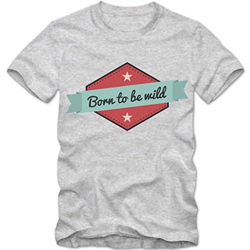 Born to be wild T-Shirt   Biker Shirt   Rocker   Motorrad   Steppenwolf  Tee, Farbe:Graumeliert (Grey Melange);Größe:XXL