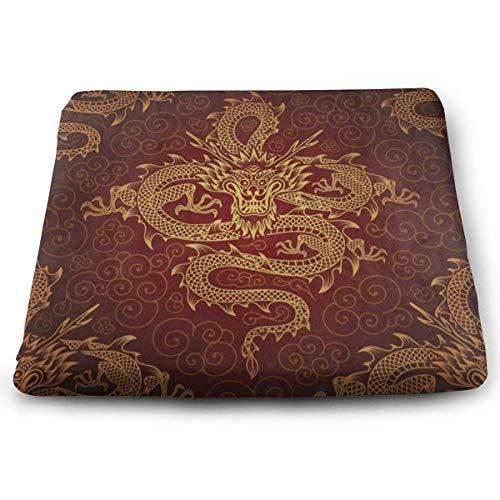 N/A - Cojín cuadrado para silla de cocina, diseño de dragón chino...