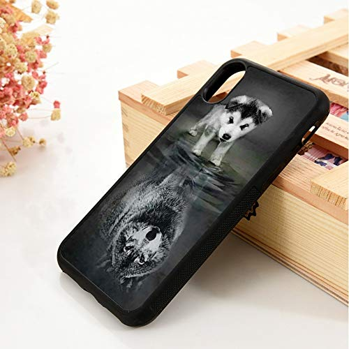 WGOUT para iPhone 5 5S 6 6S Funda para iPhone 7 Plus X XS 11 Pro MAX XR Cachorro Reflectante Magnífico Lobo de Agua Fuerte, para iPhone 6