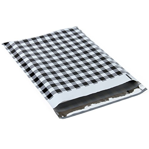 RUSPEPA Poly Mailer Shipping Bag - 2.3 Mil Black and White Plaid Design Envelopes with Self Seal Adhesive Strip - 10x13 Inch - 100Pcs - Black Plaid