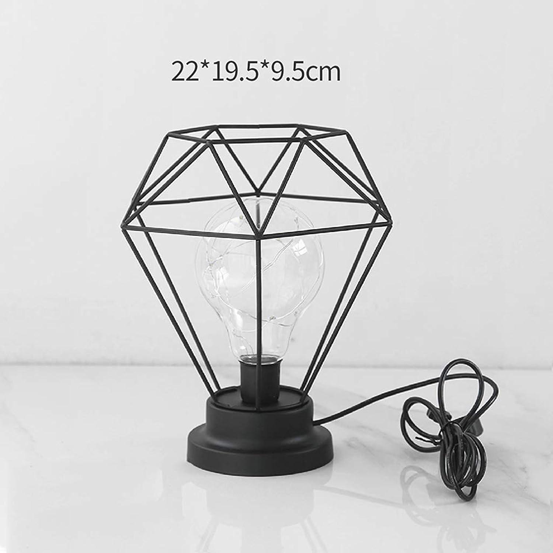 QIYINGYING Iron Diamond Bulb Nordische Nachtlampe Kreatives Wohnmobil Schmuck Schlafzimmer Nachttischlampe d