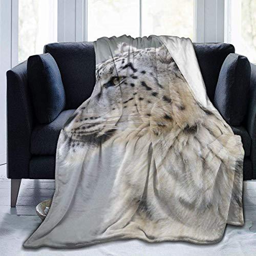 Fansu Kuscheldecke Flanell Decke, 3D Drucken Microfaser Flauschig Weich Warm Plüsch Wohndecke Fleece Tagesdecke Decke für Sofa und Bett (Schneeleopard,150x220cm)