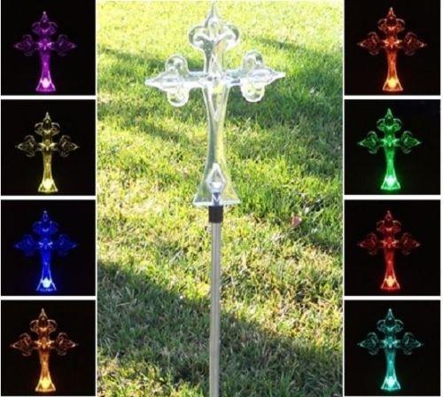 Florals Solar Cross Light, Solar Powered Garden Decor Stake Color Changing Yard LED Outdoor Landscape Light
