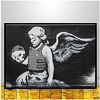 kakyd バンクシーポスター落書きキャンバス絵画抽象とプリントリビングルームの装飾のためのヴィンテージの壁アート写真50X70Cmx1フレームなし