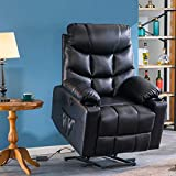 Power Lift Recliner Chair for Elderly with Massage and Heating, PU Leather Electric Recliner Chair with USB Ports, Remote Control, 3 Positions, 2 Side Pockets for Home Living Room (L-Black)