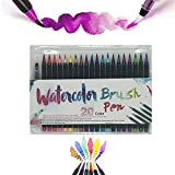 Watercolor Brush Pen Set,Drawing Marker Brushes and Water Coloring Brush,20 Colors + 1 Refillable Water pen Watercolor marker Soluble for Adult Coloring Books Manga Comic Calligraphy Gift