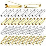 Pimoys 100 Pcs Bar Pins, Metal Double Hole Brooch Safety Clasp 3cm Brooch Pin Back for Name Tags Jewelry Making DIY Crafts Accessories(Gold and Silver)