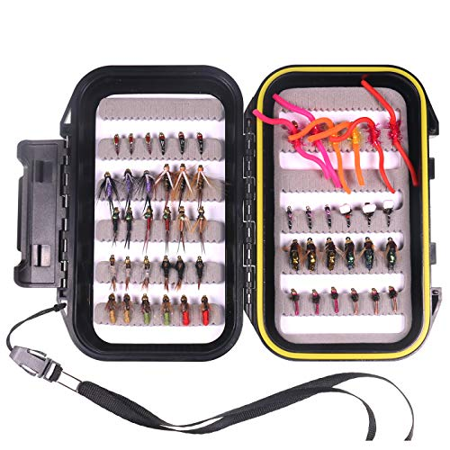 wifreo Fly Fishing 54 Nymph Flies Assortment BH Wet Fly for Trout Flyfishing with Waterproof Fly Box