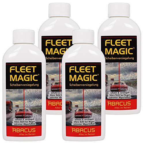 ABACUS Fleet Magic 4X 250 ml (7003) - Scheibenversiegelung Glasversiegelung Windschutzscheiben-Versiegelung Scheiben Glas Regenabweiser Wasserabweiser unsichtbarer Scheibenwischer Abperleffekt