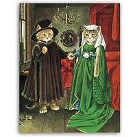 """抽象的な漫画猫壁アート絵画キャンバスポスターとプリントアートワーク写真寝室リビングルーム家の装飾23.6""""x31.4""""(60x80cm)フレームレス"""