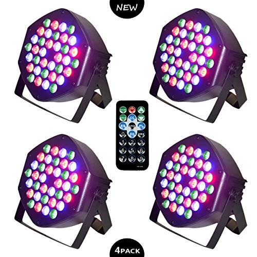 LED PAR Licht 36W 36LEDs RGB 7 Beleuchtung 4 STÜCK Modi Disco Lichteffekte dj party Licht Bühnenbeleuchtung led scheinwerfer Fernbedienung DMX
