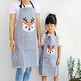 Lindong Süß Tier Schürze mit Tasche für Erwachsene Kinder Wasserdicht Baumwolle Leinen Küchenschürze Latzschürze Kochschürze Kinder Grau Reh - 4