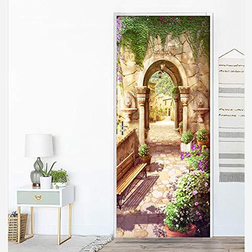 GVRPV 3D Etiqueta de la Puerta Hermoso Paisaje Arcos de jardín Retro Flores en la Carretera Decoración del hogar en maceta-95cm (W) * 215cm (H)
