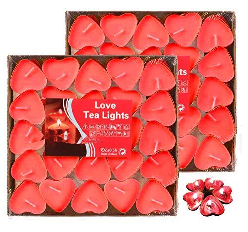 Adkwse Teelichter 100er (50 * 2) Herzform Romantische Kerzen Rauchfreie Herzkerzen für Geburtstag, Vorschlag, Hochzeit, Party, Hochzeit Verlobung, Valentinstag (Rot)