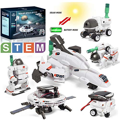 Lehoo Castle Solar Science Kits, STEM 6 in 1 Educational Solar Space Building Kit DIY Assembly Battery Operated Robotic Set for Teens Kids Age 6+