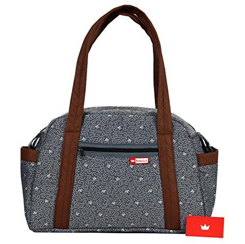 BabyLux Wickeltasche CANDY LUX Kinderwagentasche Baby Windel Tasche Pflegetasche (CandyLux Grau)