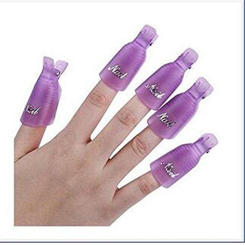 NiceButy, 10 mollette rimuovi gel per unghie, Wrap Clip Cap, per unghie artificiali, in plastica, color lilla