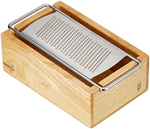 Un 'domo pv-kit-0359Point-Virgule antiscivolo in acciaio INOX grattugia per formaggio con contenitore in legno 17x 11x 7cm, in legno di acacia, marrone
