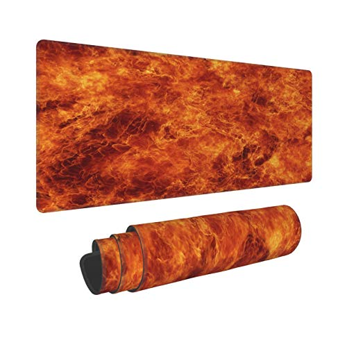 KENADVI Large Gaming Mouse Pad,Blazing Orange Flames,Non-Slip Rubber Mouse Pads Mousepad for Gaming Computer Office Desk,80×30×0.3cm