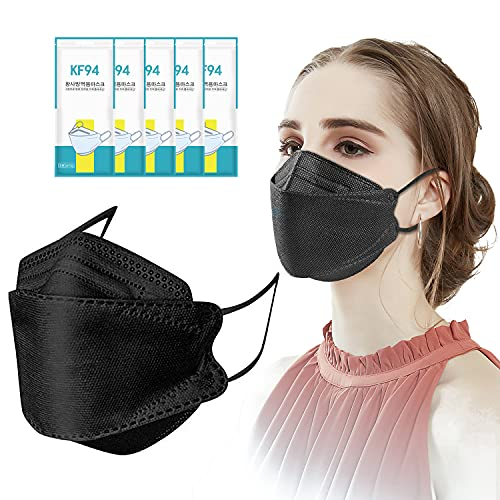 50/100PC Adult Kf94_disposable_face_mask 4-Layer Non-woven & Comfortable Elastic Earloop 3D Fish Type Face_Protection (Black, 100)