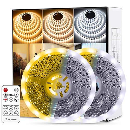 Fortand Tiras LED, Luces LED Lámpara de Tricolor Tira 20m, 1680 LED 2835 con Control Remoto RF, Para la Habitación Dormitorio Cocina Barra Techo 12V [nivel de energía a + + +] (20M)