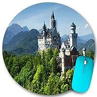 KAPANOU ラウンドマウスパッド カスタムマウスパッド、ドイツノイシュヴァンシュタイン城快適な自然の風景緑の森青い空、PC ノートパソコン オフィス用 円形 デスクマット 、ズされたゲーミングマウスパッド 滑り止め 耐久性が 200mmx200mm