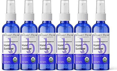 Brittanie's Thyme Organic Travel Hand Sanitizer Spray, 2 oz 6 Pack Lavender & Peppermint   Vitamin E Aloe Moisturizing