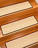 Natural Area Rugs Fuscaldo Espresso DIY Pet Friendly Handmade Sisal Carpet Stair Treads/Rugs Safety Slip Resistant for Kids, Elders, and Dogs. 9' x 29' (13), Serged Espresso Border