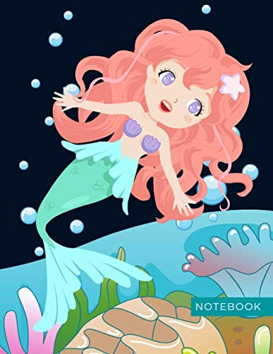 Notebook: Sweet Mermaid Underwater Theme / College Ruled 8.5x11 Letter Size / 120 Blank Lined Pages for School / Work / Journaling / Writing / Note Taking